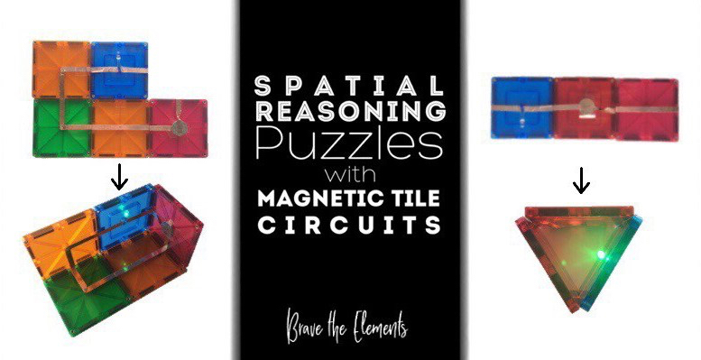 spatial reasoning puzzles with magnetic tile circuits